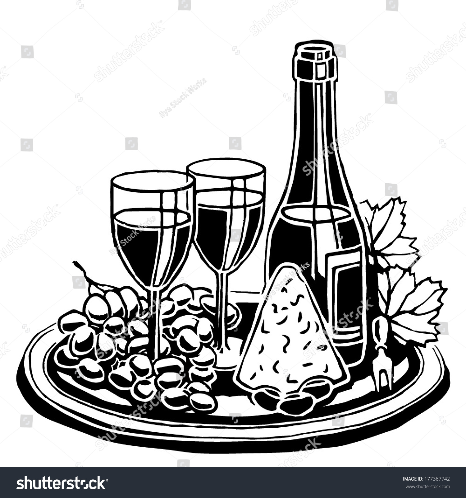 symbolic still life drawing bottle wine stock vector 177367742