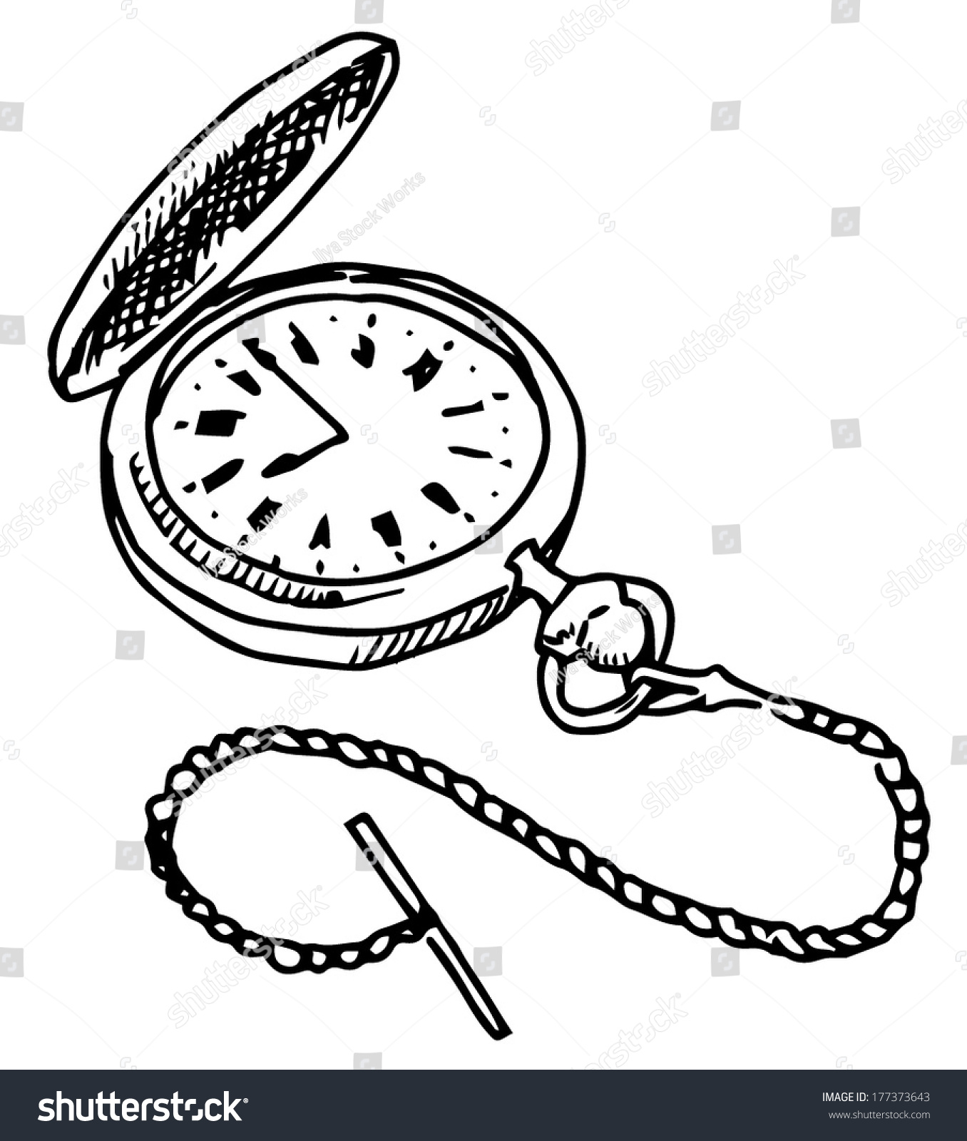 Pocket Watch Vector Drawing On White Stock Vector
