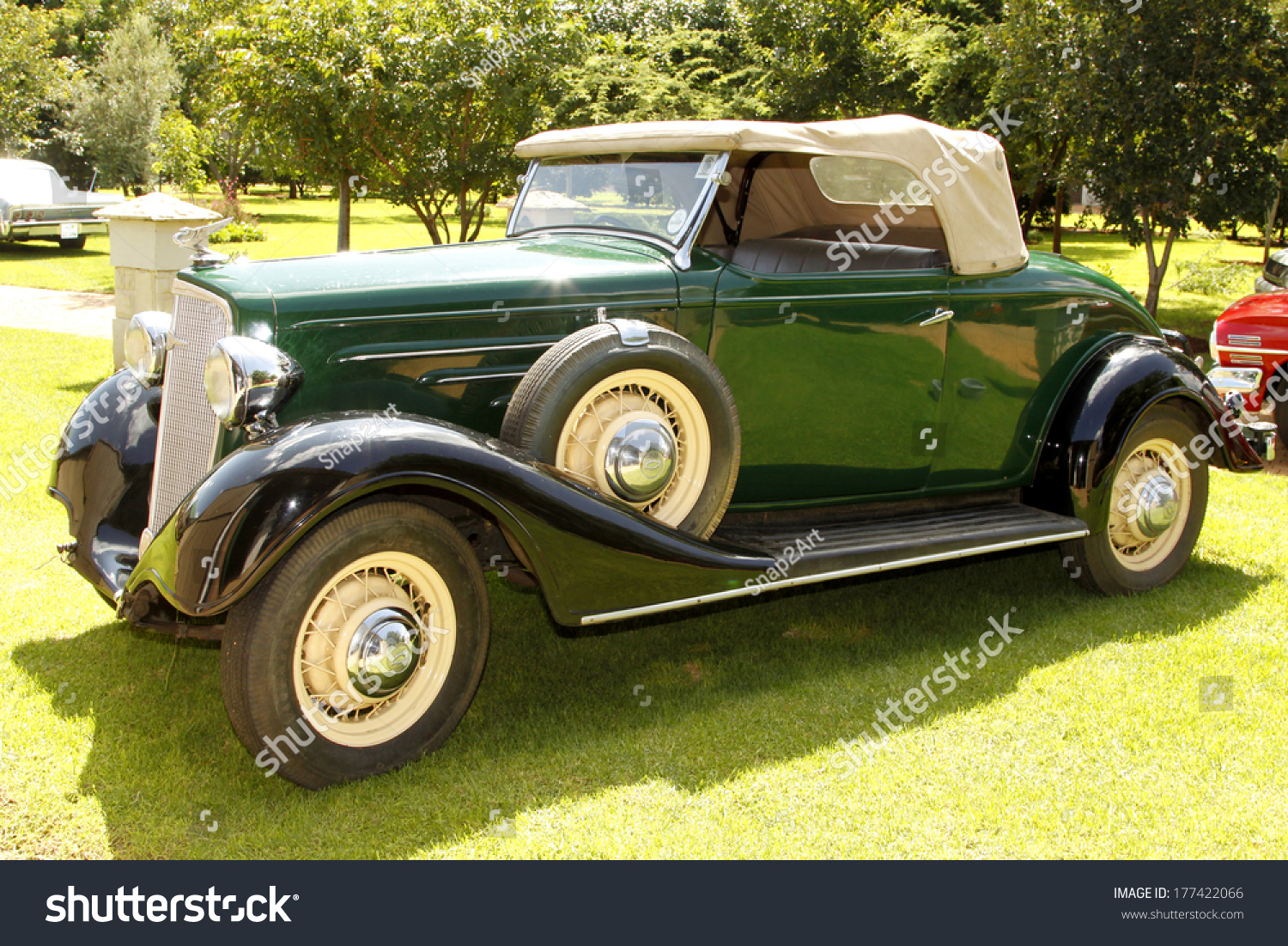 Rustenburg South Africa  City new picture : RUSTENBURG, SOUTH AFRICA FEBRUARY 15: Green 1934 Chevrolet Roadster ...