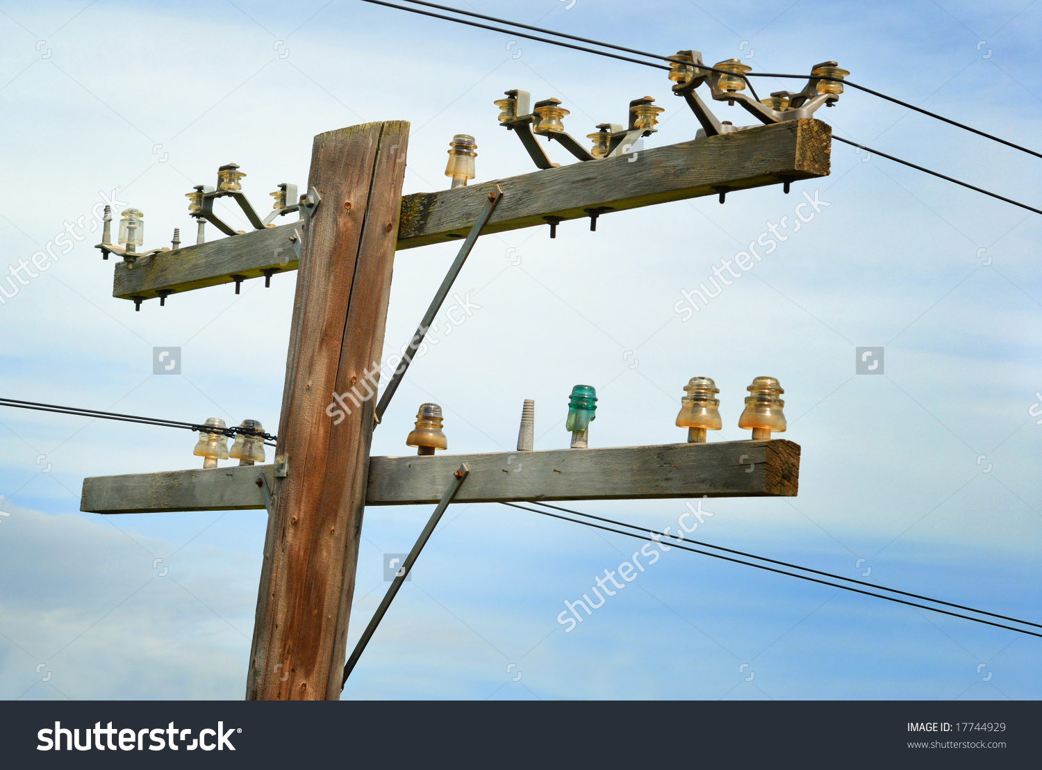 Old wooden telephone pole vintage glass stock photo for Glass telephone pole insulators