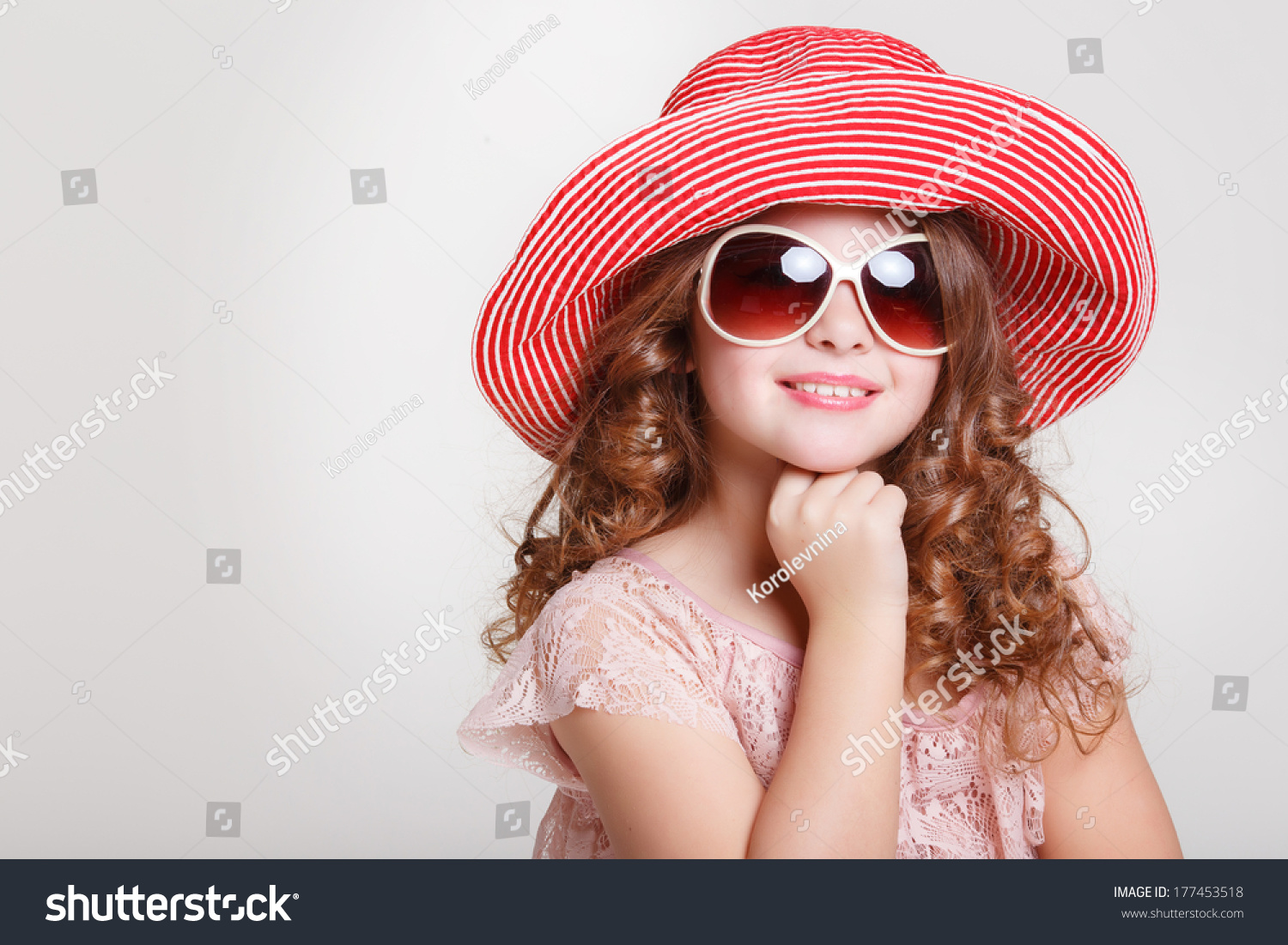 beautiful little summer hat sunglasses stock photo 177453518