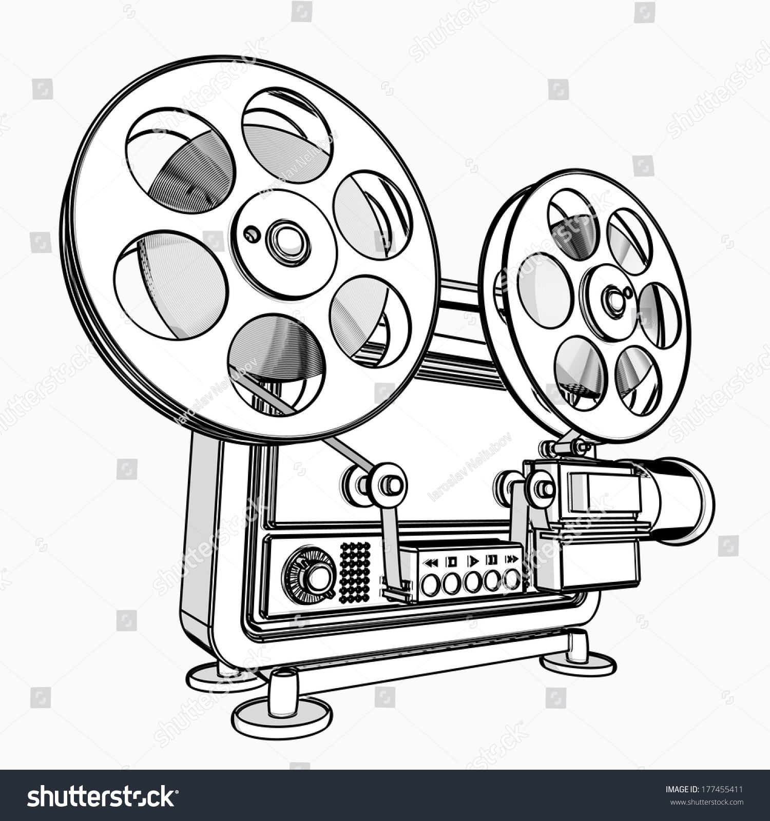 Old-fashioned cinema projector  cartoon… Stock Photo 177455411