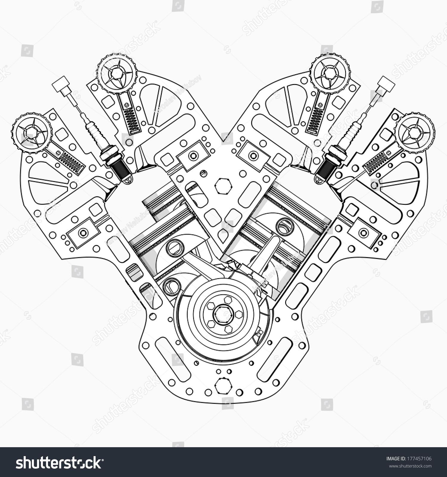 V8 Car engine cartoon illustration outline. High resolution