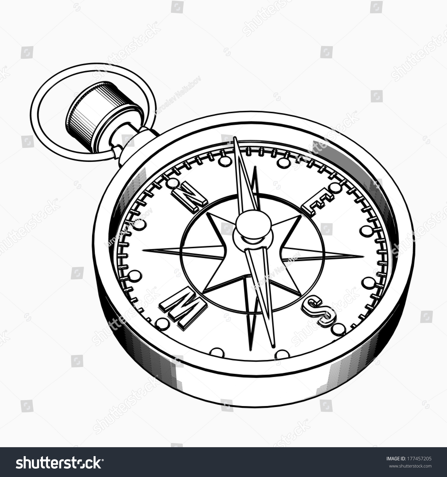 Compass Tattoo Line Drawing : Compass cartoon illustration outline high resolution stock