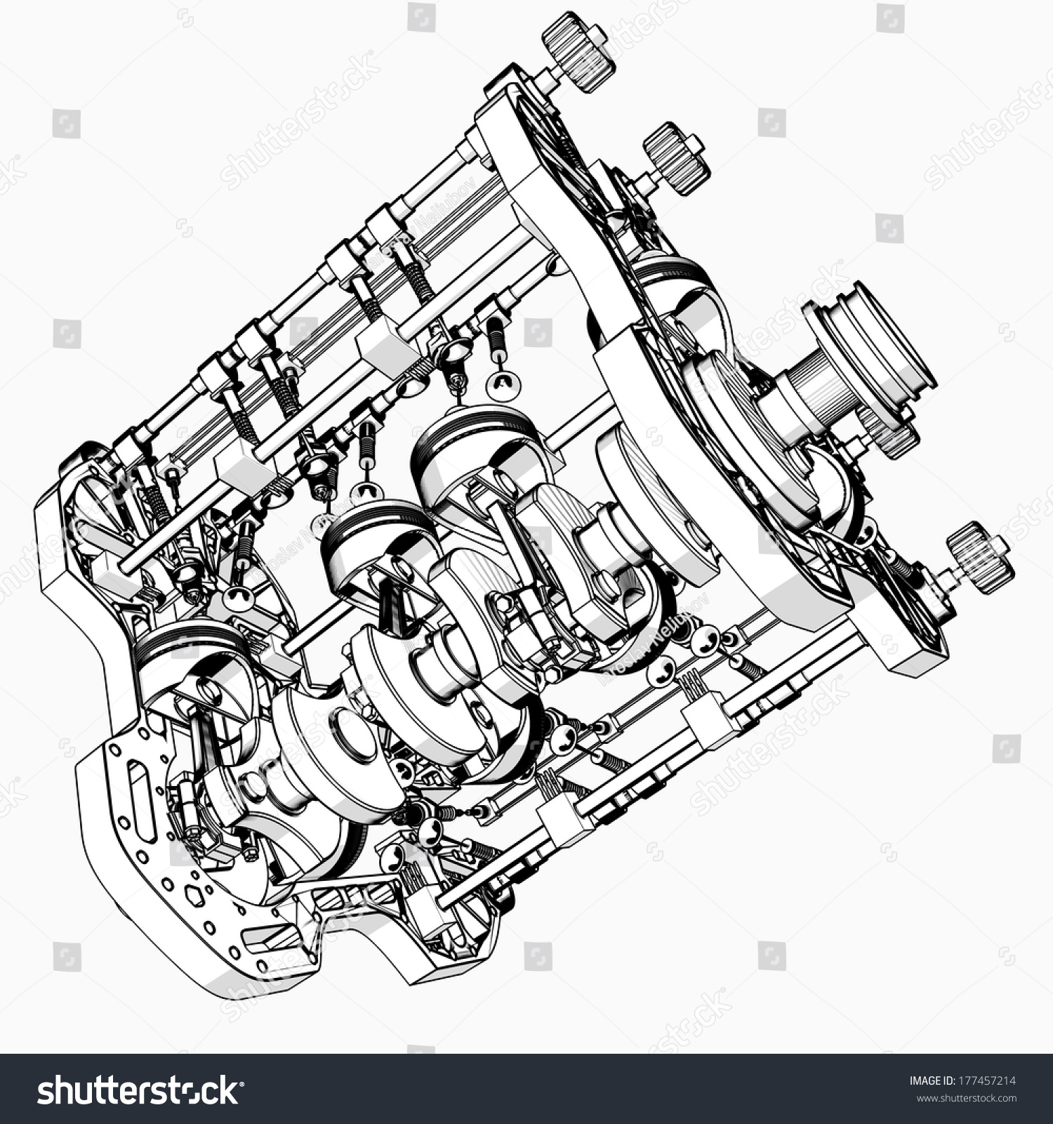 V8 Car Engine Cartoon Illustration Outline Stock Illustration ...