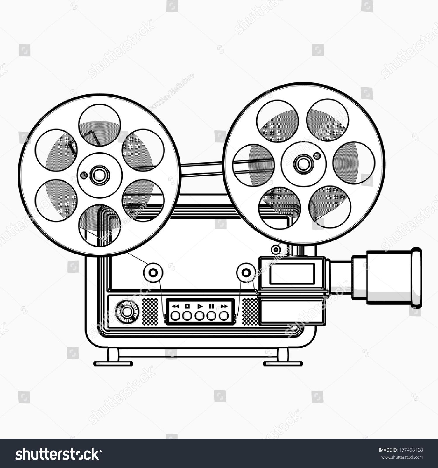 Old Fashioned Cinema Projector Cartoon Illustration Outline High Resolution 3D 177458168