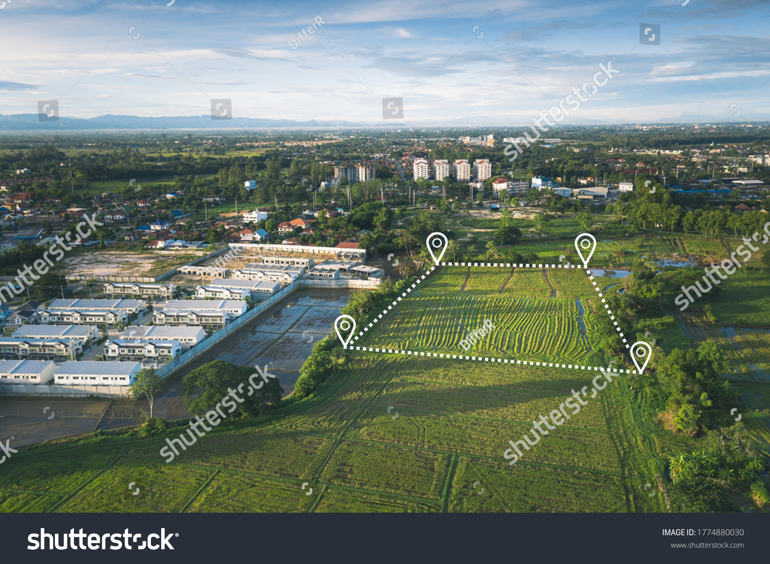 Land plot in aerial view. Include landscape, real estate, green field, agricultural plant, pin location icon. For housing subdivision, residential, development, owned, sale, rent, buy or investment. #1774880030
