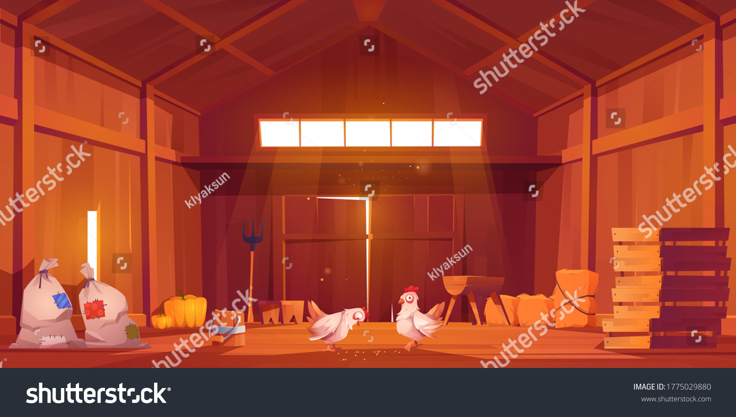 Barn interior with chicken, farm house inside view. Wooden ranch with haystacks, sacks, fork, huge gate and window under roof. Traditional countryside storehouse building Cartoon vector illustration #1775029880