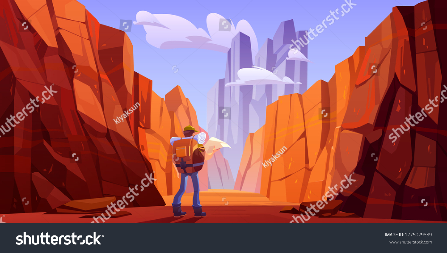 Hiker man with map on desert road in canyon with red mountains. Vector cartoon landscape of nature park with stone cliffs, rocks and tourist backpack for hiking in gorge #1775029889