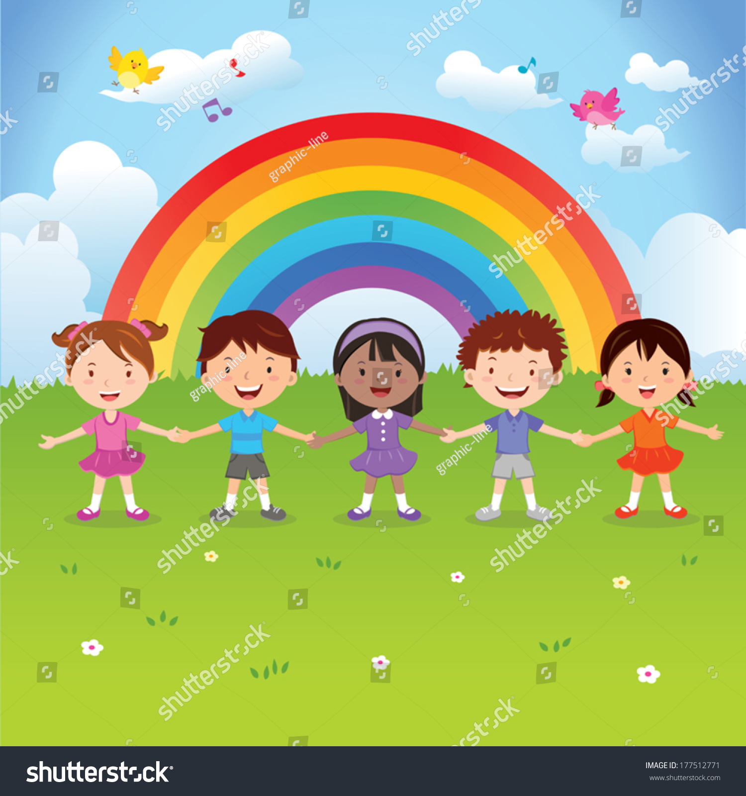 Diverse Children Under Rainbow Vector Illustration 177512771