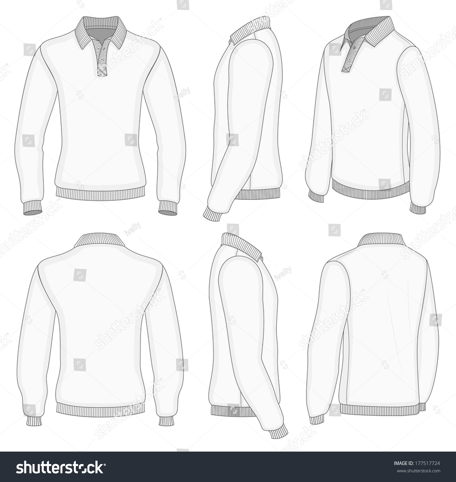 All Views Mens White Long Sleeve Stock Vector Royalty Free