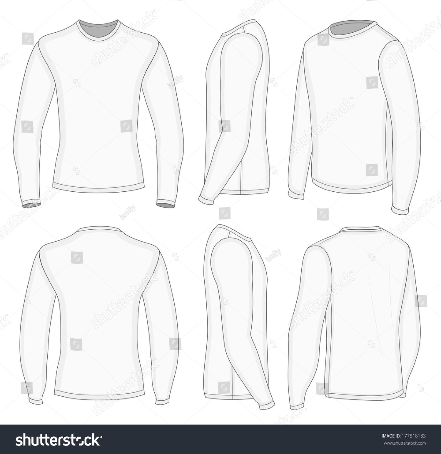 Royalty-free All six views men\'s white long sleeve t… #177518183 ...