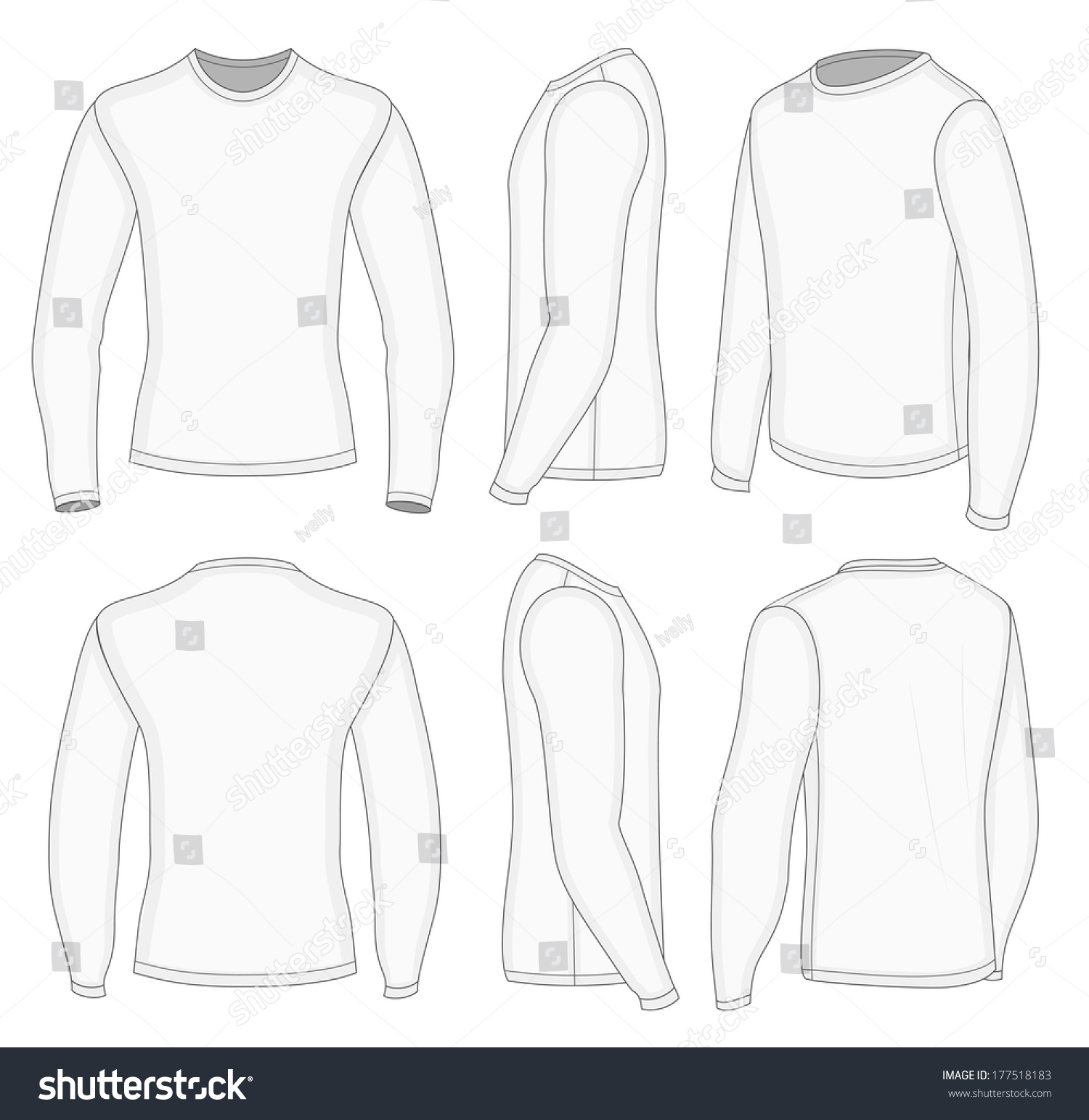 Design t shirt long sleeve - All Six Views Men S White Long Sleeve T Shirt Design Templates Front Back