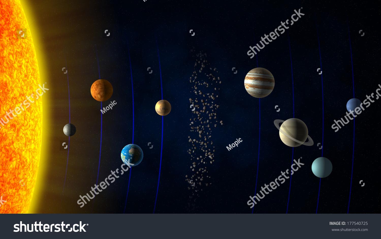 solar system sun planets asteroid belt stock illustration 177540725