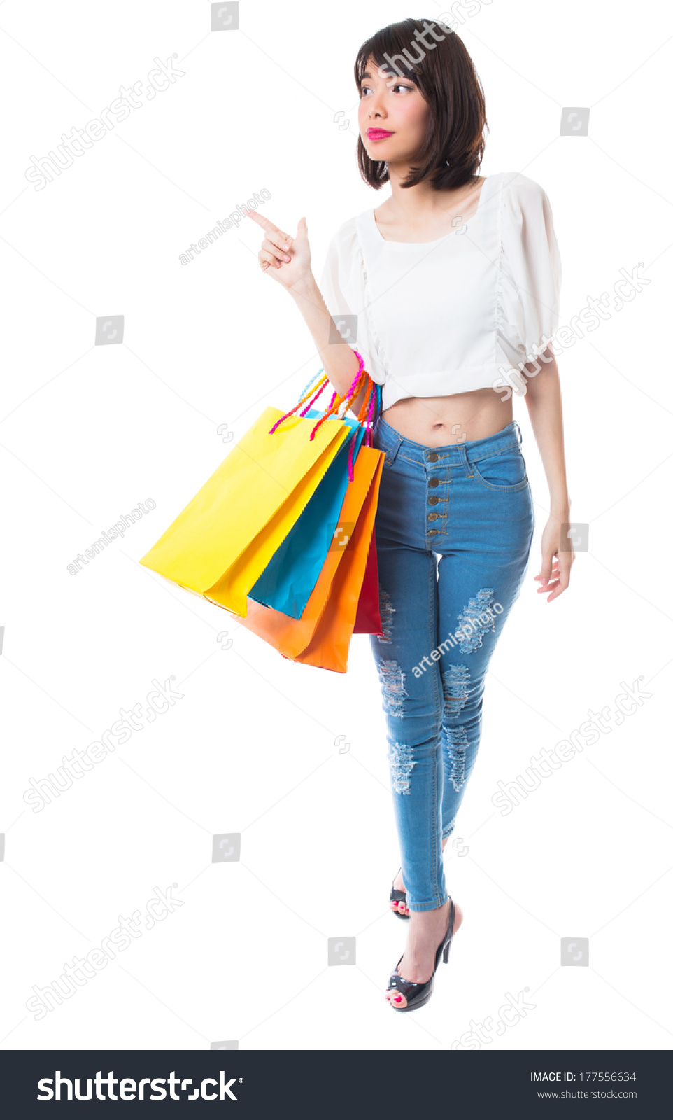 Woman posing with shopping bags isolated on white background full - Happy Shopping Woman With Shopping Bags On White Background