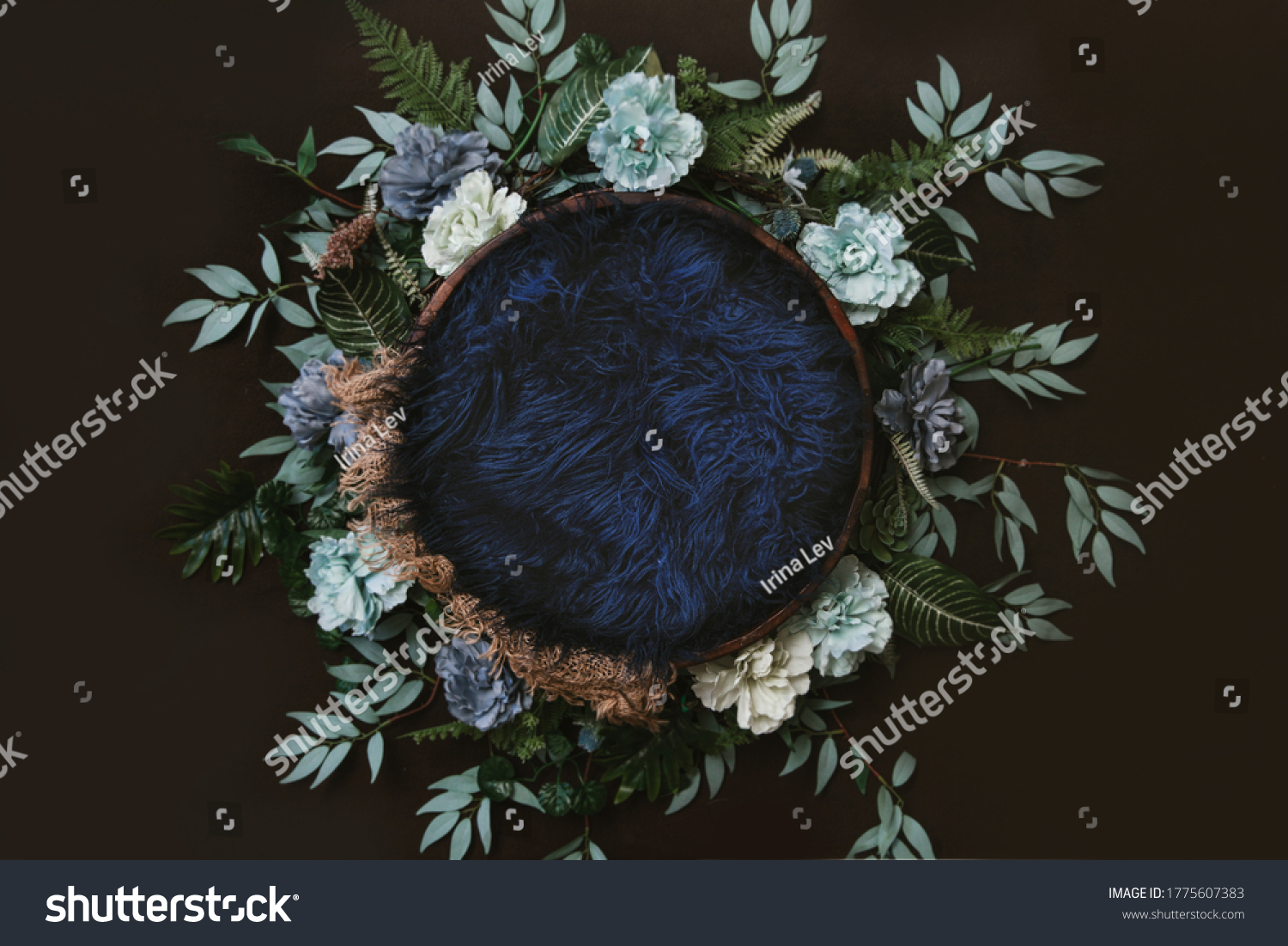 Newborn digital background - brown wooden bowl with green leaves wreath,  teal flowers and blue faux fur. #1775607383