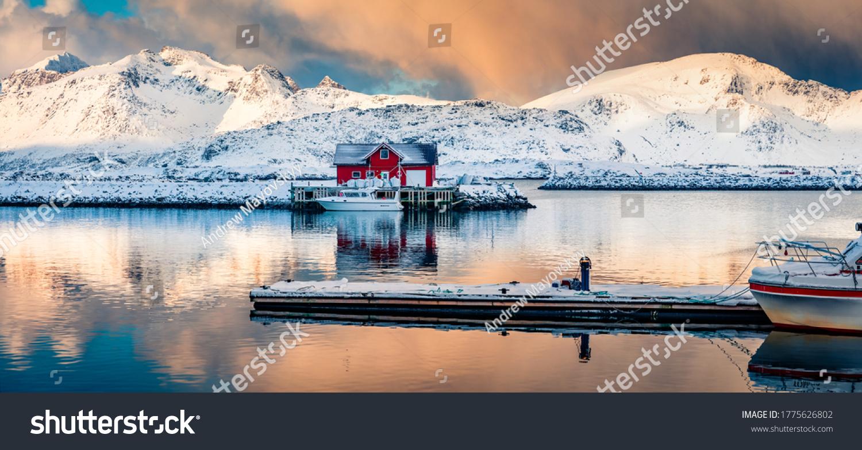 Panoramic winter view of small fishing village - Ramberg, Lofoten Islands, Norway, Europe. Dramatic morning seascape of Norwegian sea, Rambergsvika fjord. Magnificent outdoor scene over polar circle. #1775626802