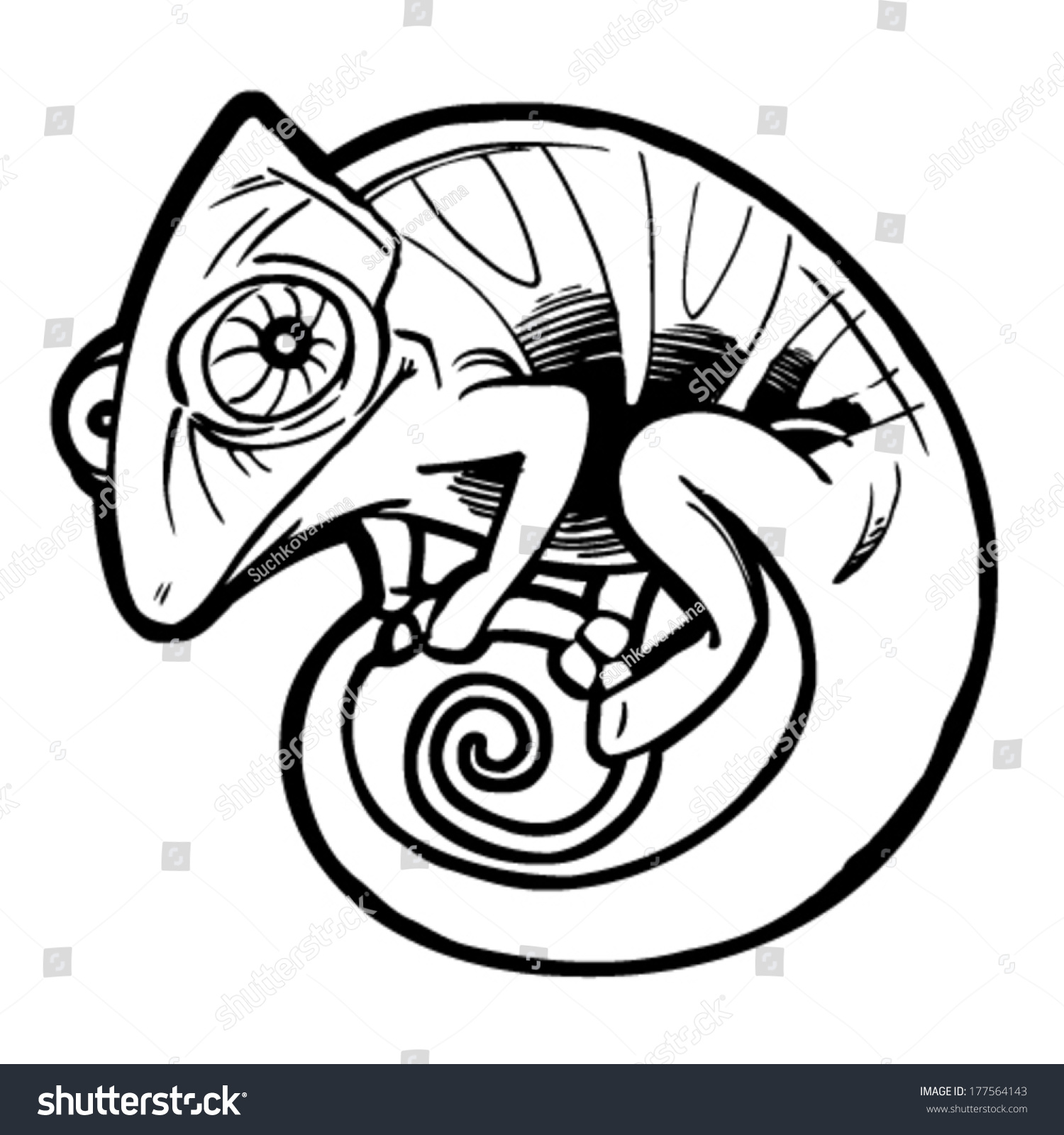 Chameleon Arts Tattoo Flash: Chameleon Tattoo Black Stylized Cartoon Cute Vector