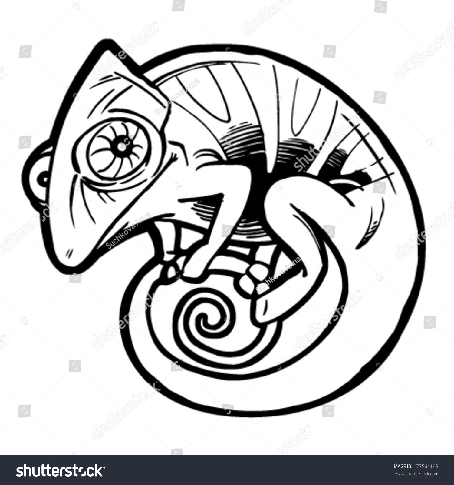 Chameleon Tattoo Designs Drawings: Chameleon Tattoo Black Stylized Cartoon Cute Stock Vector