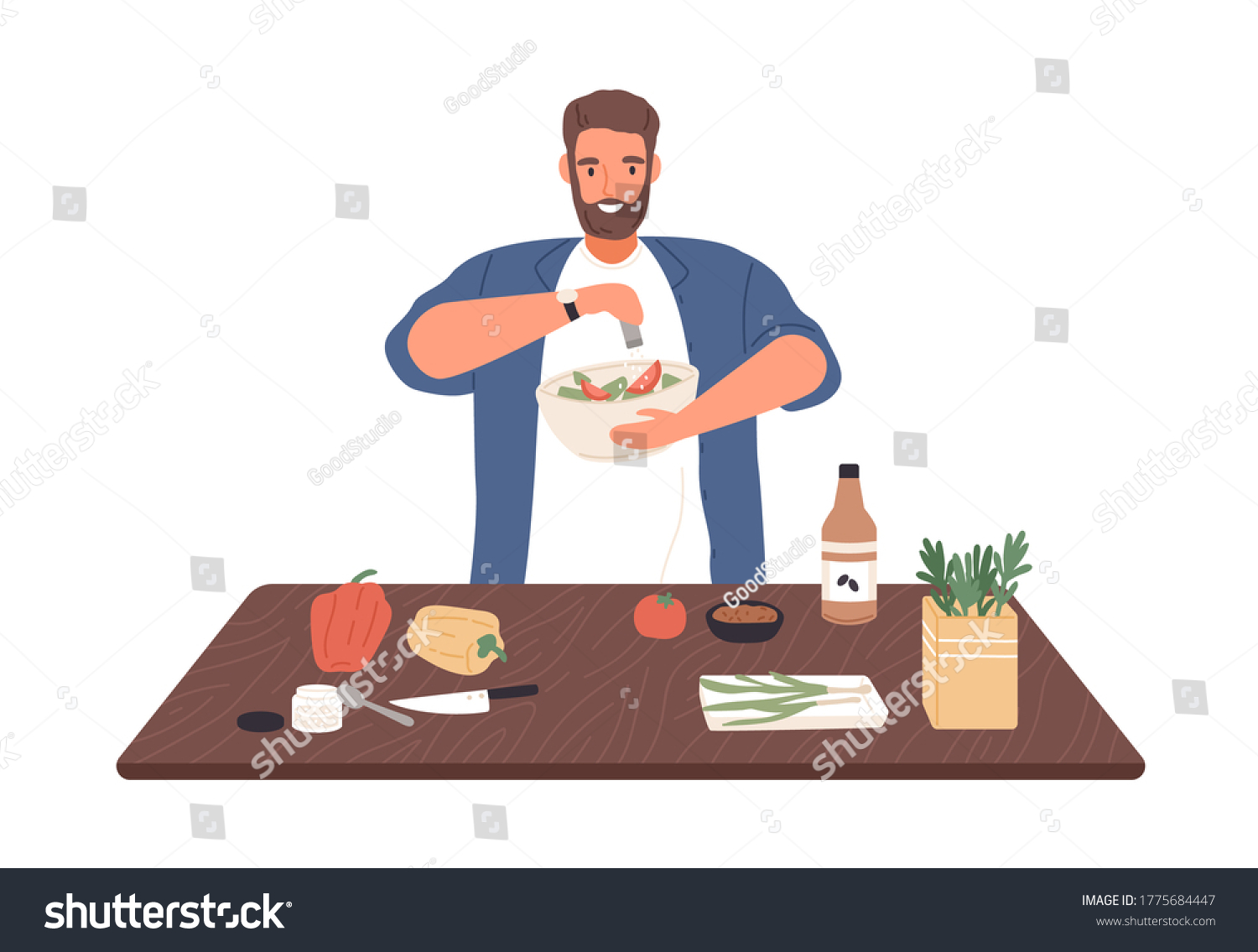 Smiling man on diet cook vegetable salad on kitchen table vector flat illustration. Male apply salt to vegetarian healthy food isolated on white. Guy preparing dinner or lunch with spices and herbs #1775684447