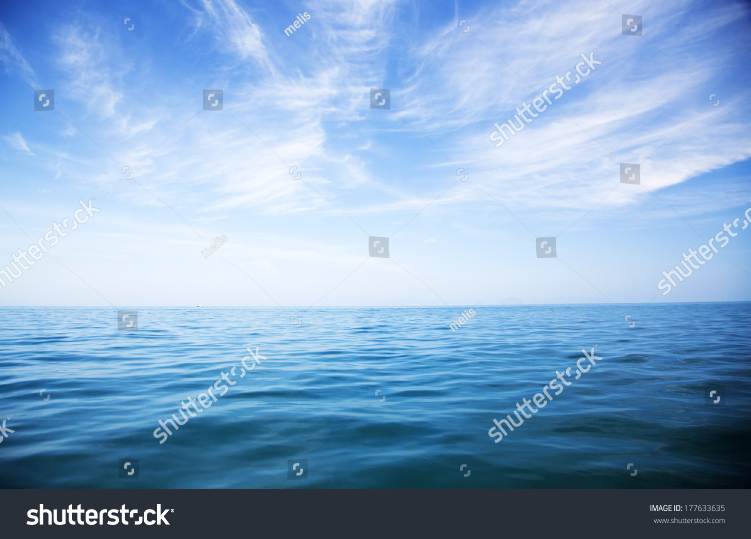 perfect sky and water of ocean  #177633635