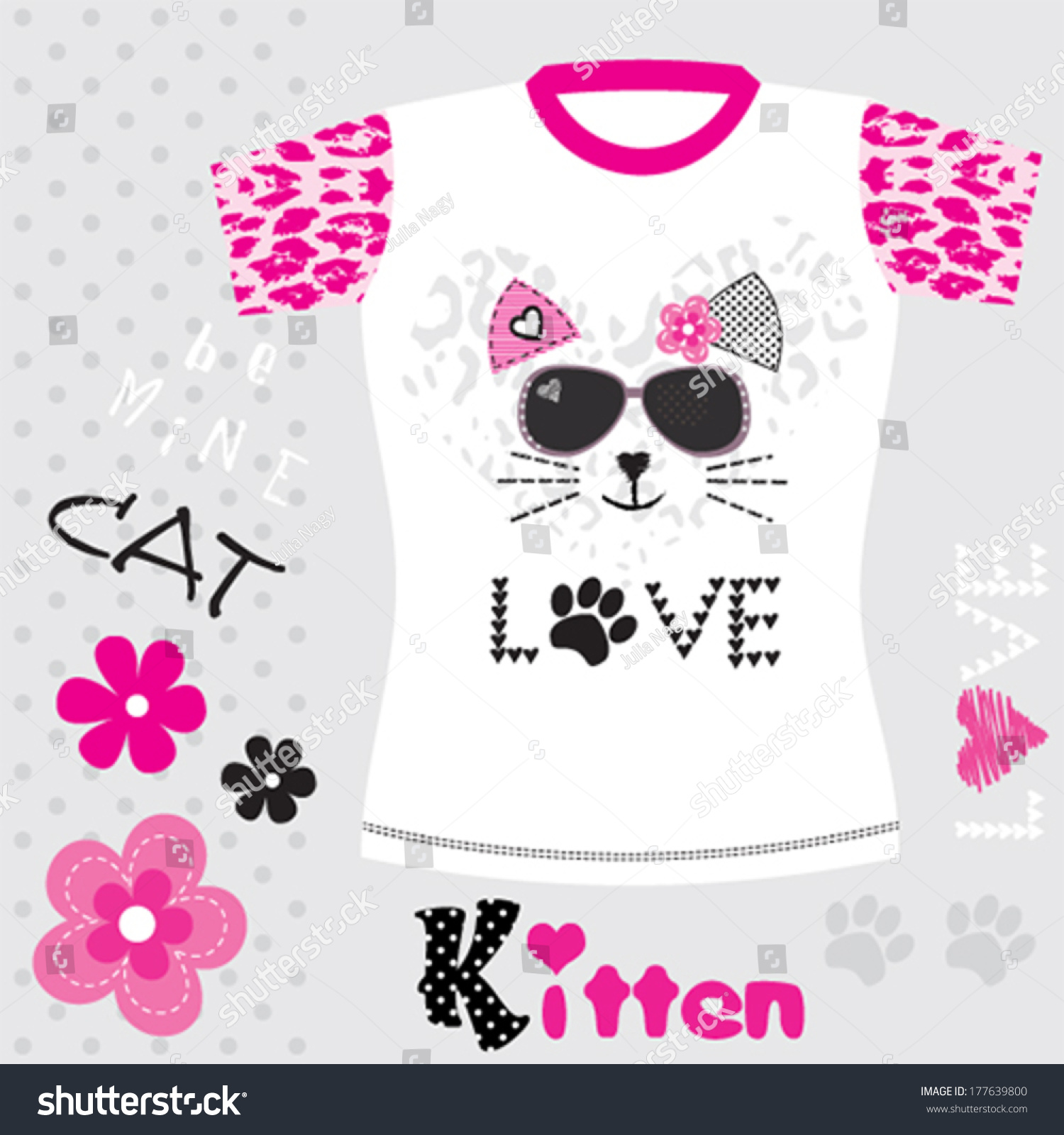 Shirt design in girl - Cute Cat Girl Tshirt Design Kids Fashion Vector Illustration