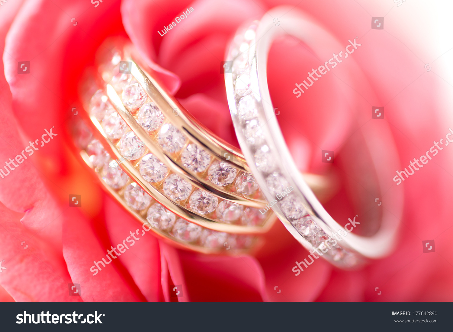 Gold Silver Wedding Rings On Cushion Stock Photo (Edit Now ...