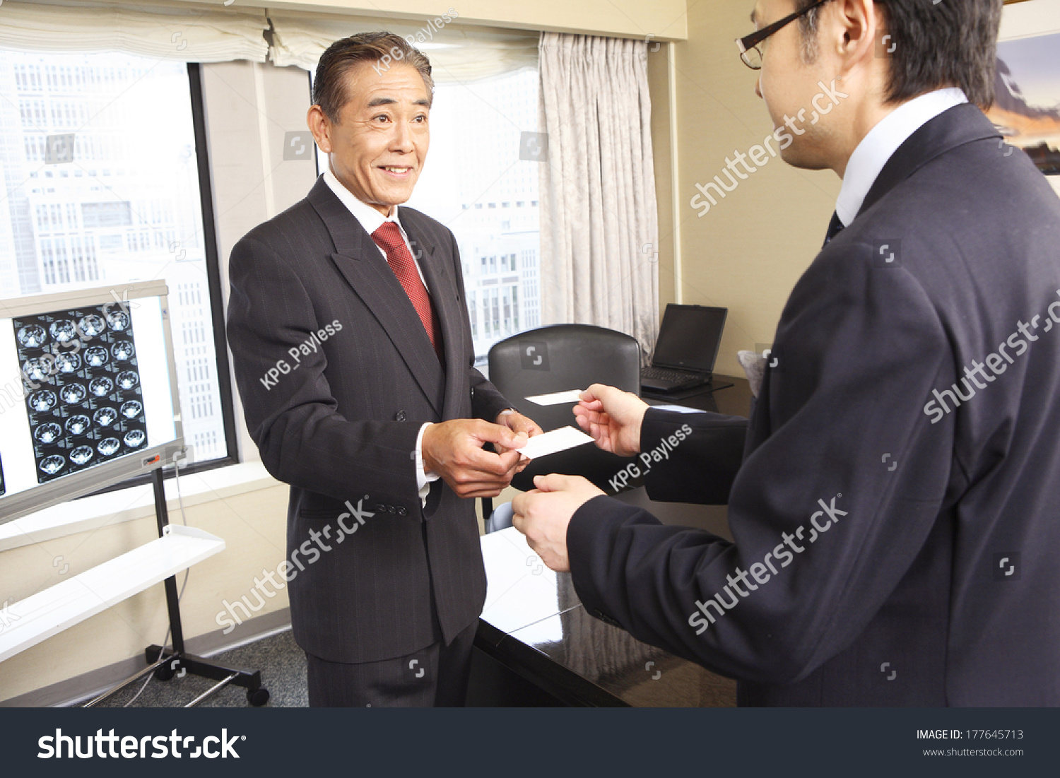 Japanese Businessman Exchange Business Cards Stock Photo 177645713 ...