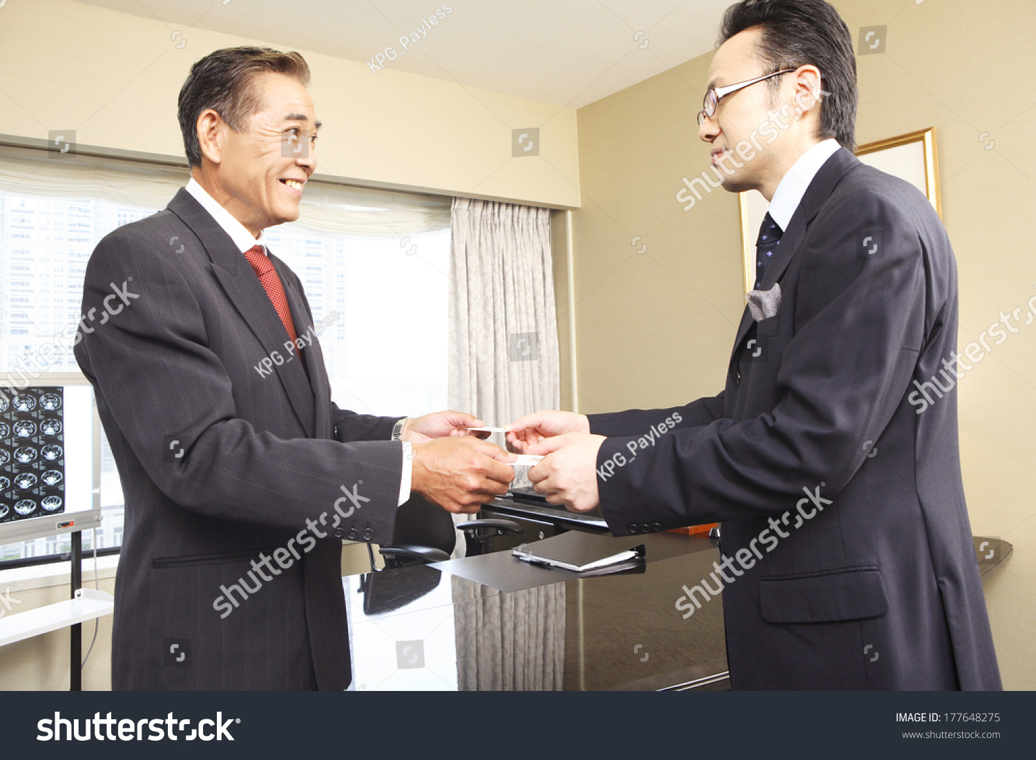 Japanese Businessman Exchange Business Cards Stock Photo (Royalty ...
