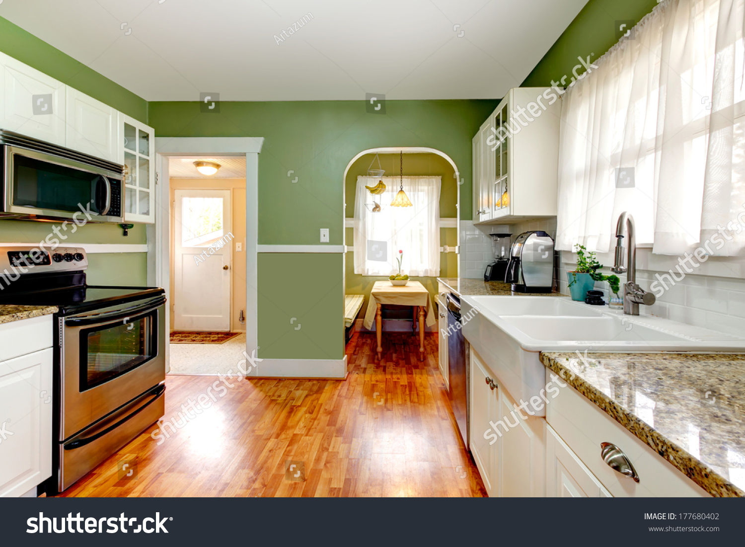 Bright Kitchen Bright Kitchen Room Green Wall Hardwood Stock Photo 177680402