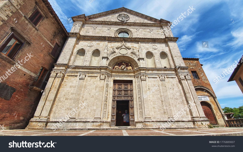 Montepulciano, Tuscany, Italy July 15 2020: Church of Sant' Agostino in Montepulciano.