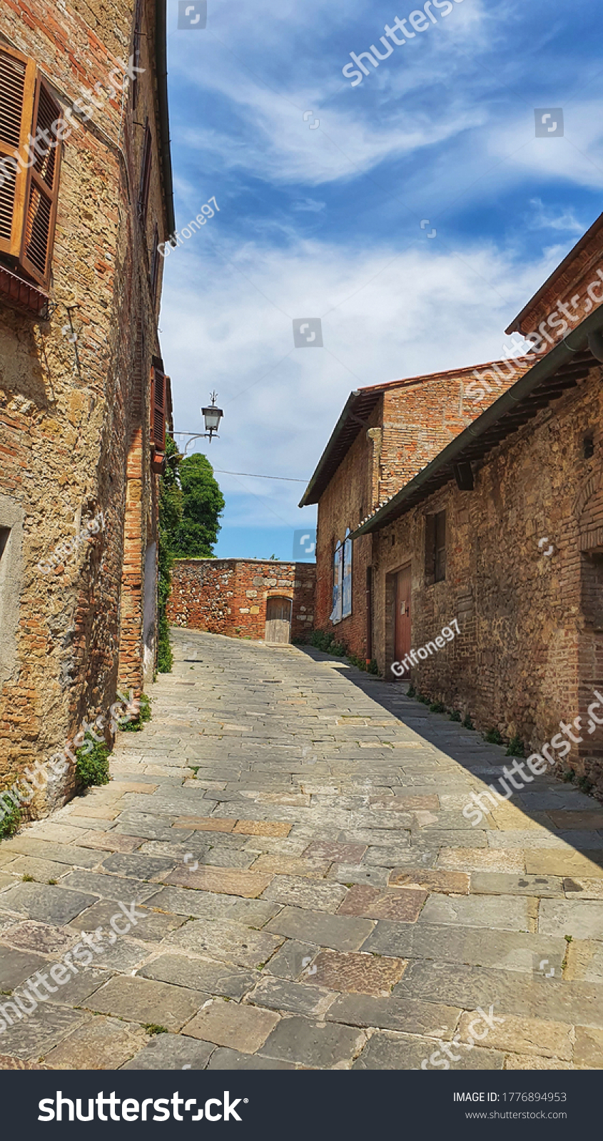 Beautiful view of an alley of Montepulciano, a tuscan town between val d' Orcia e val di Chiana in Italy.
