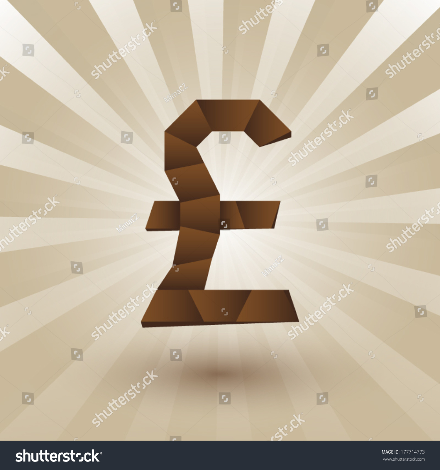Money Symbol Great Britain Pound Origami Stock Vector Royalty Free