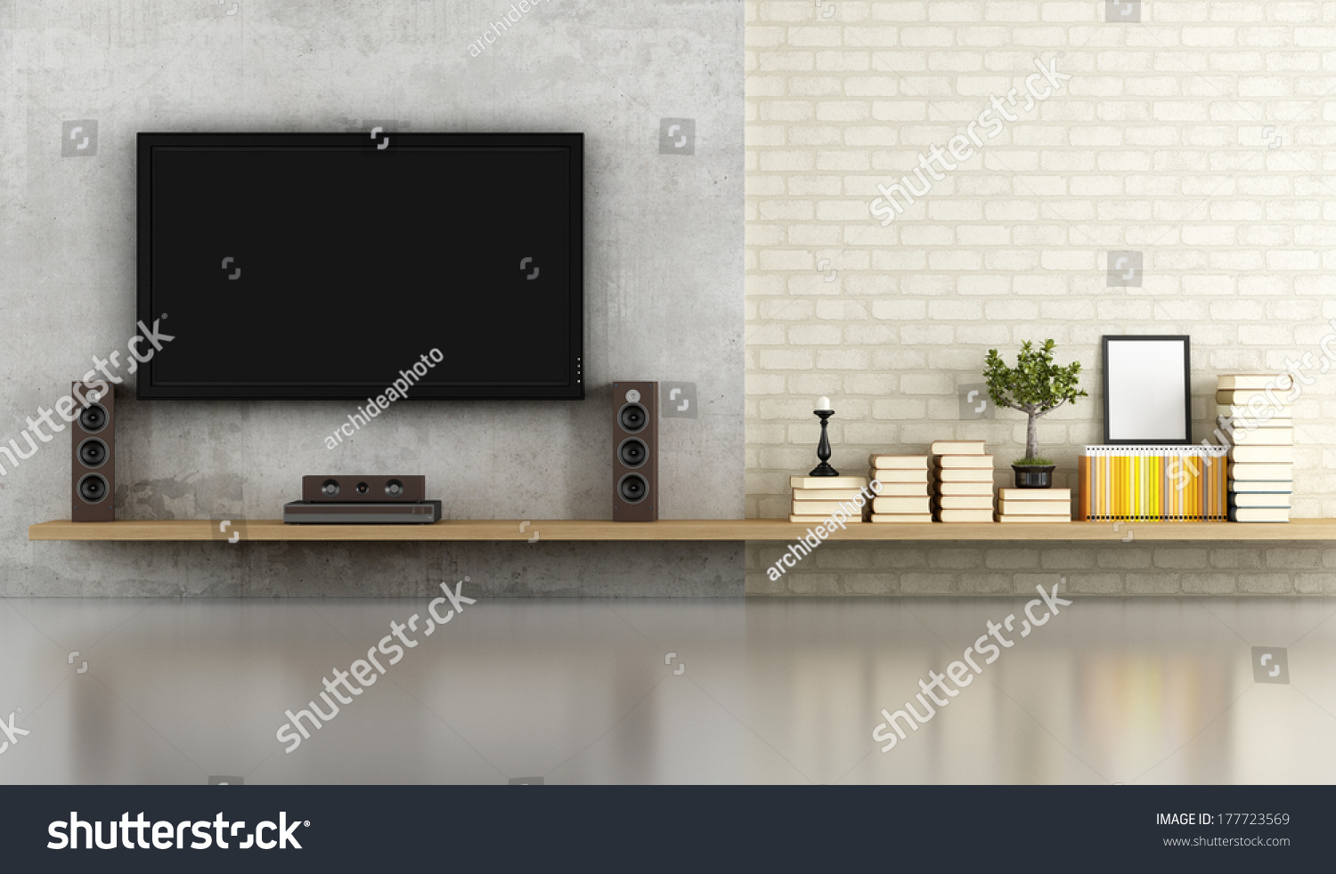 Living Room Without Furniture With Shelf Tv And Concrete Panel