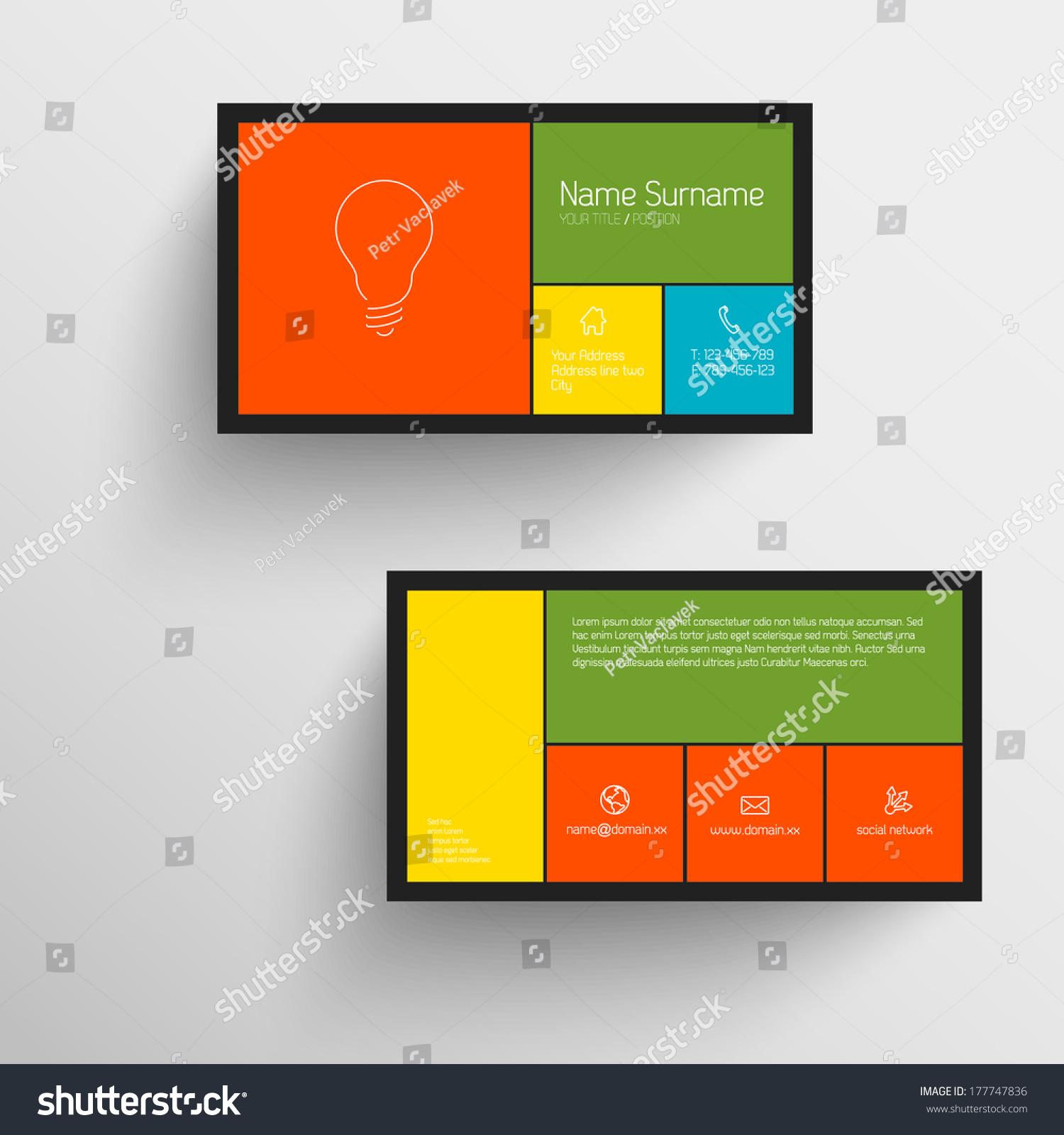 modern simple business card template flat stock vector