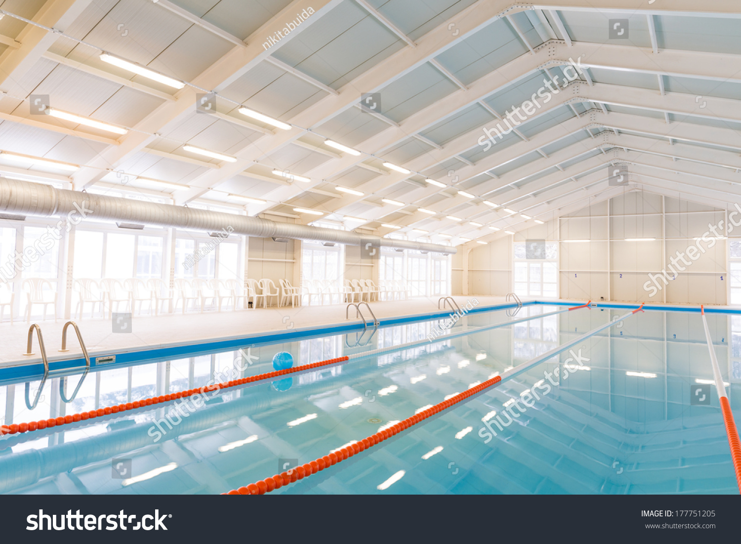 Indoors Swimming Pool With Blue Water Stock Photo 177751205 Shutterstock