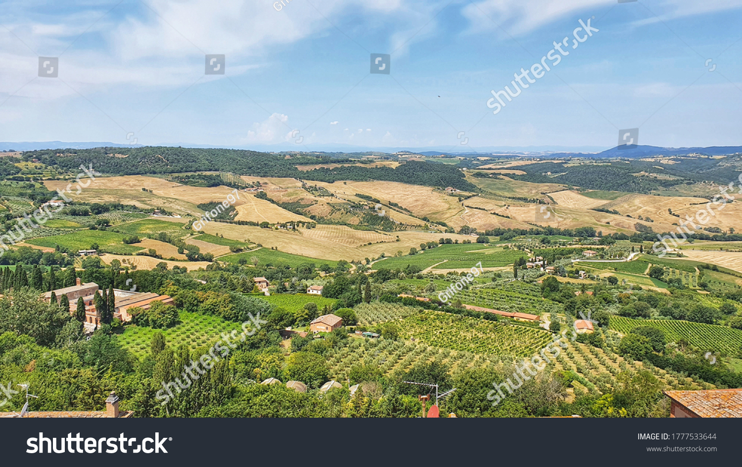 Landscape of Montepulciano sorrounded by the vineyards and the  Tuscan countryside, Italy.