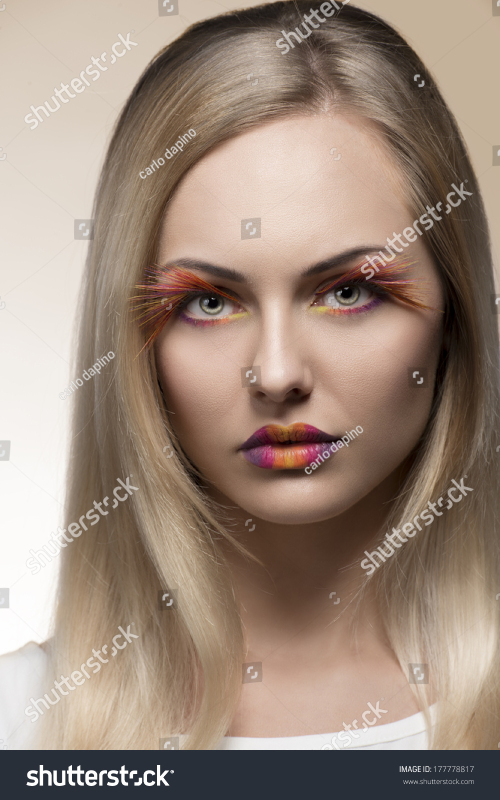 Cute Blonde Woman Posing In Beauty Close Up Shoot With Colorful Make