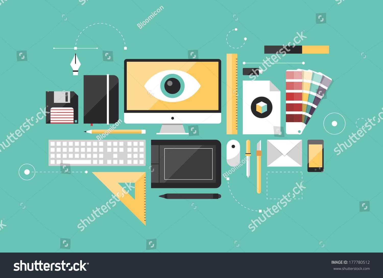 Flat design style modern vector illustration stock vector for Office design tool