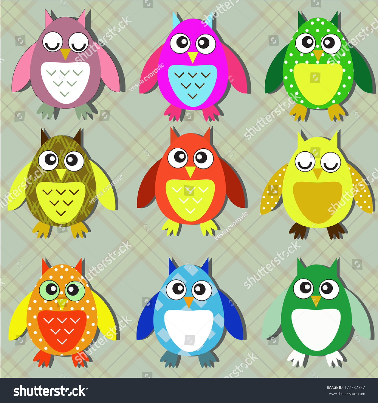 - Colorful Owls Stock Vector (Royalty Free) 177782387