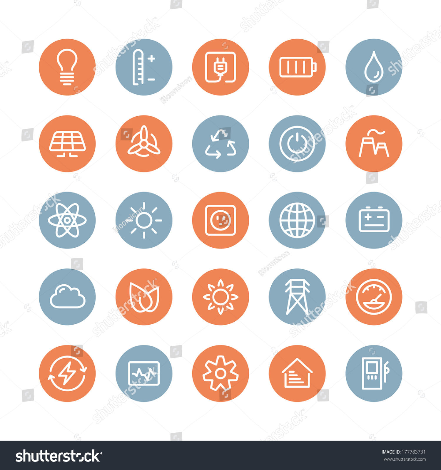 Flat Line Icons Modern Design Style Vector Set Of Power ...