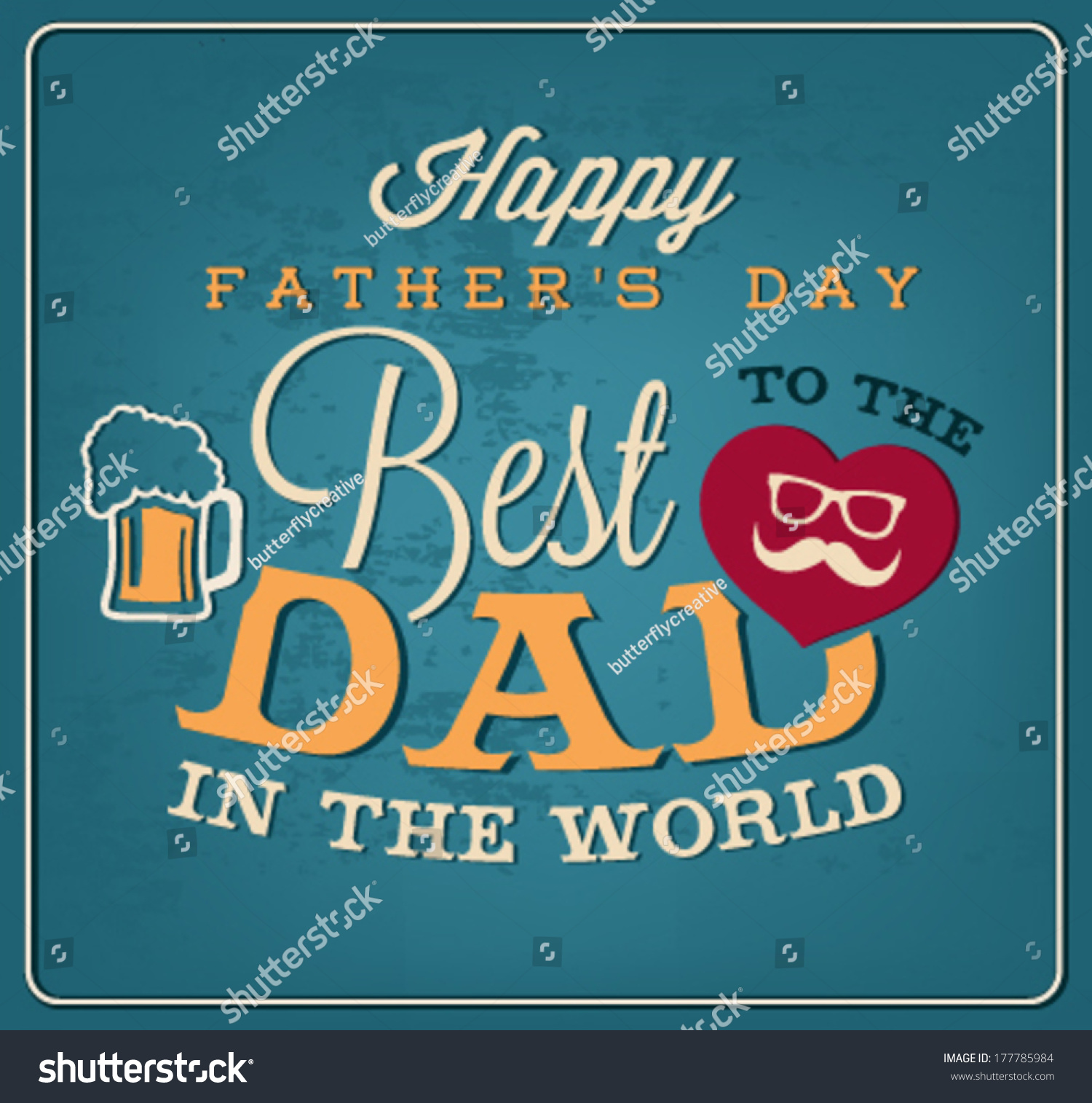Happy Fathers Day Greeting Card Template In Vintage Style Ez Canvas