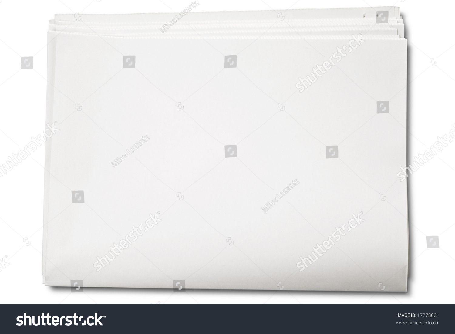 blank newspaper on white clipping path stock photo (edit now
