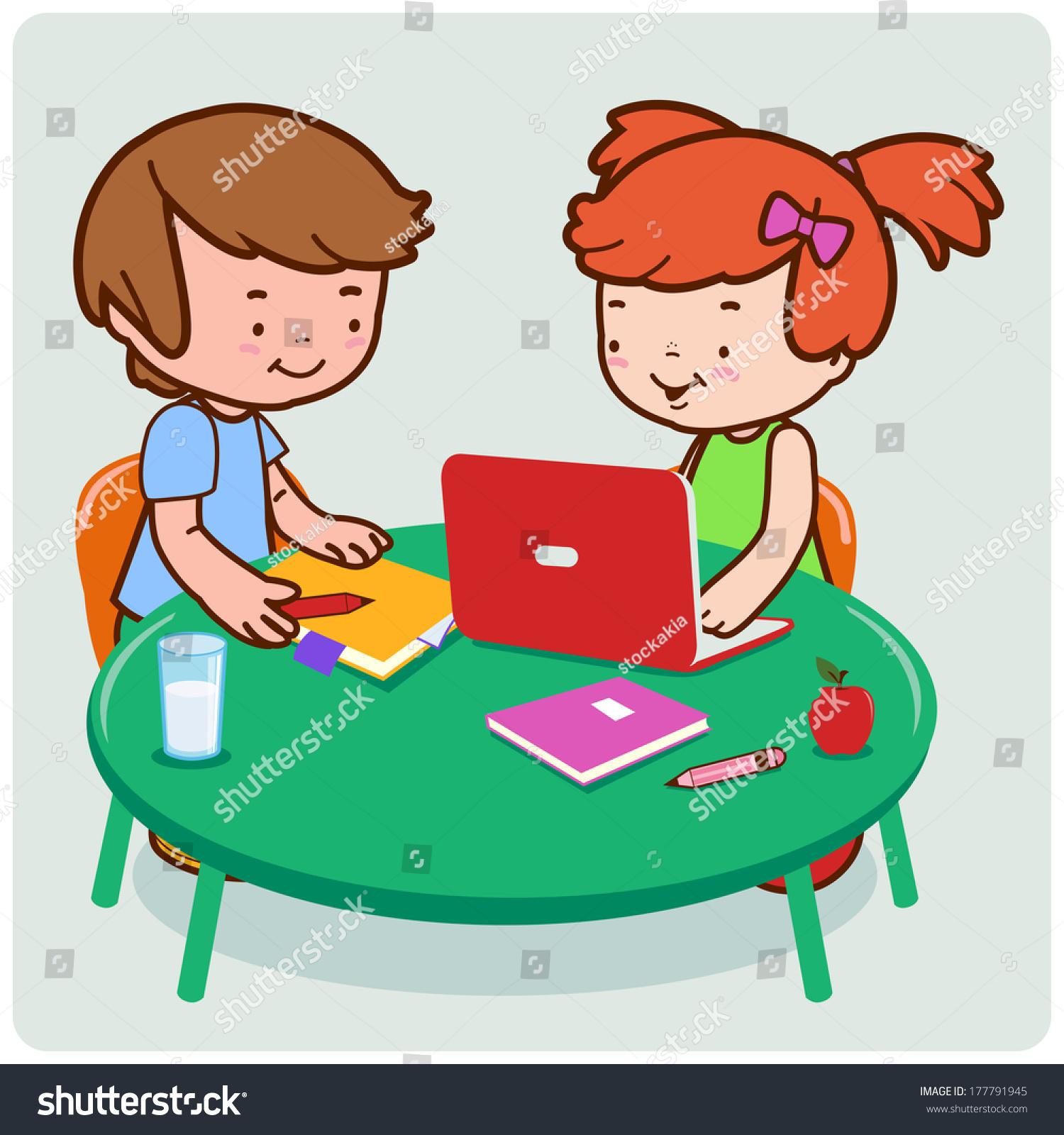 cartoon person doing homework