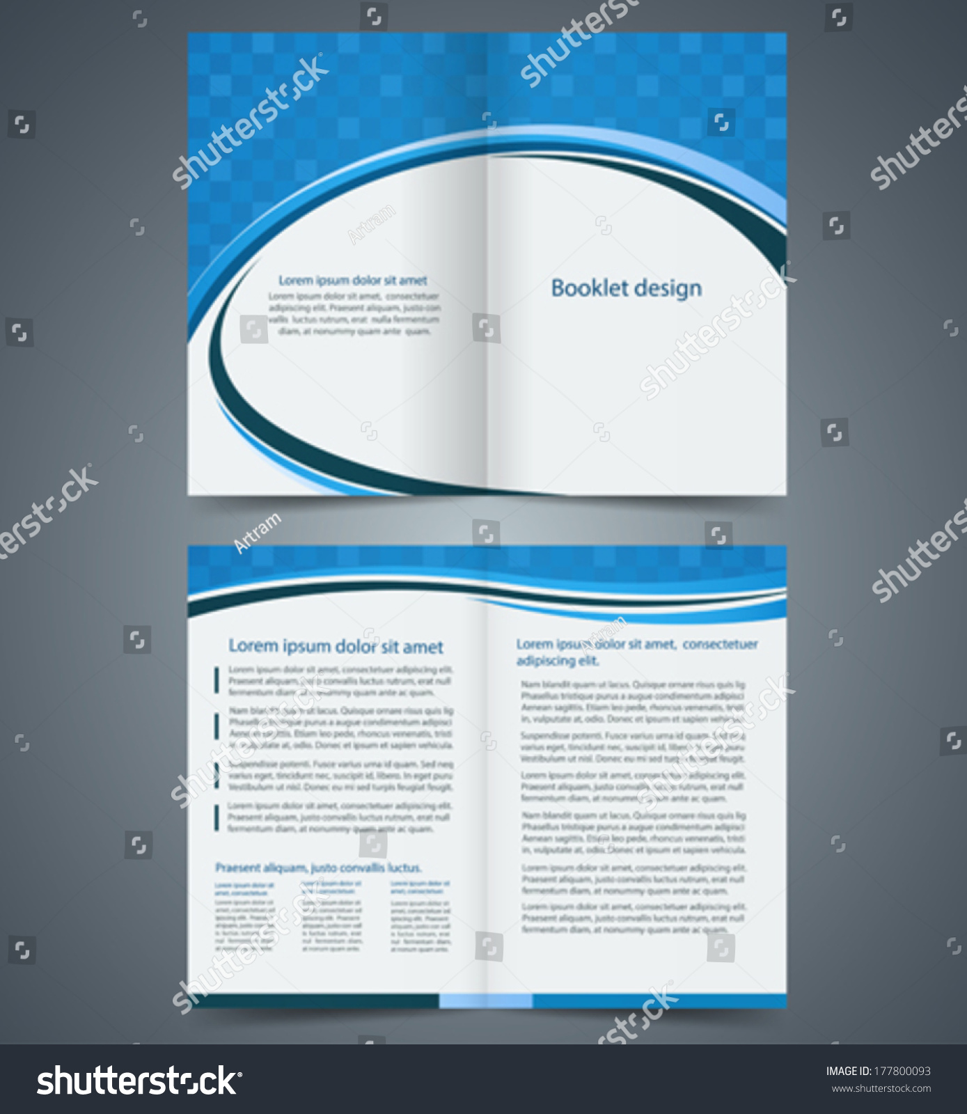 Blue Bifold Brochure Template Design Business Stock Vector - Bi fold brochure template