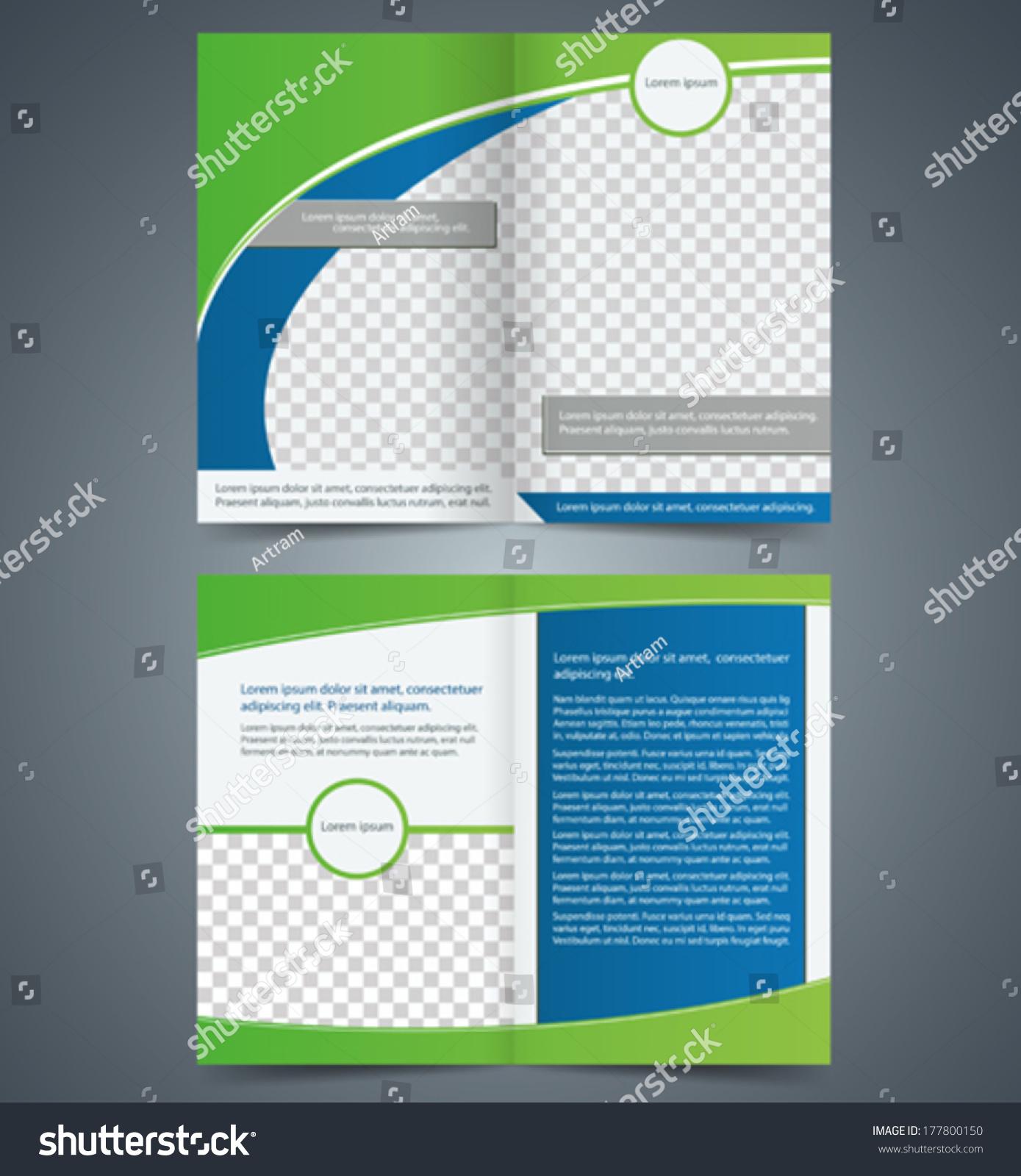Empty Bifold Brochure Template Design Green Stock Vector - Double fold brochure template