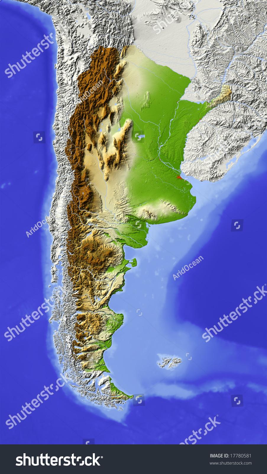 Argentina Shaded Relief Map Major Urban Stock Illustration - Argentina landforms map