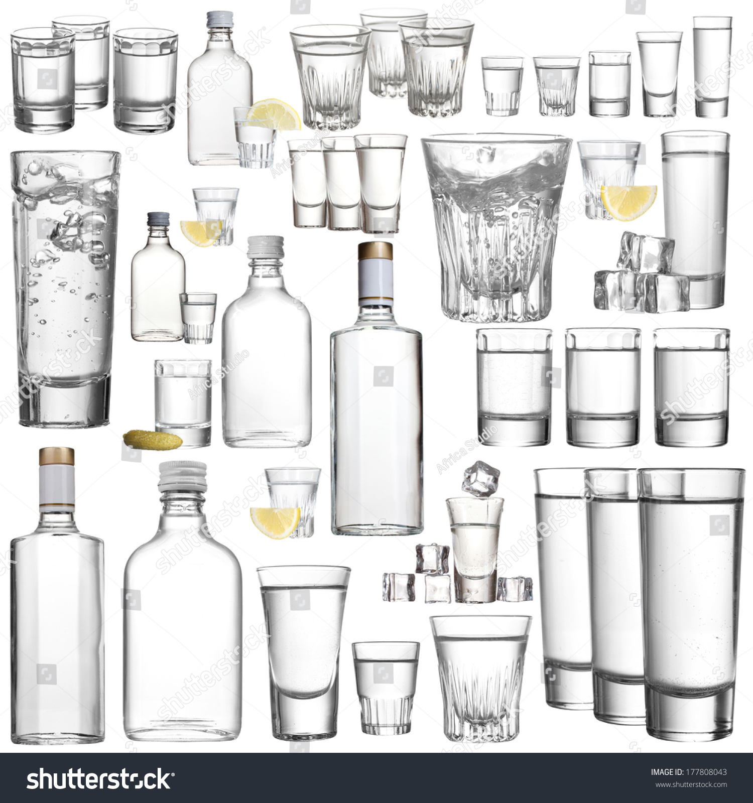 Collage Alcohol Drinks Vodka Isolated On Stock Photo