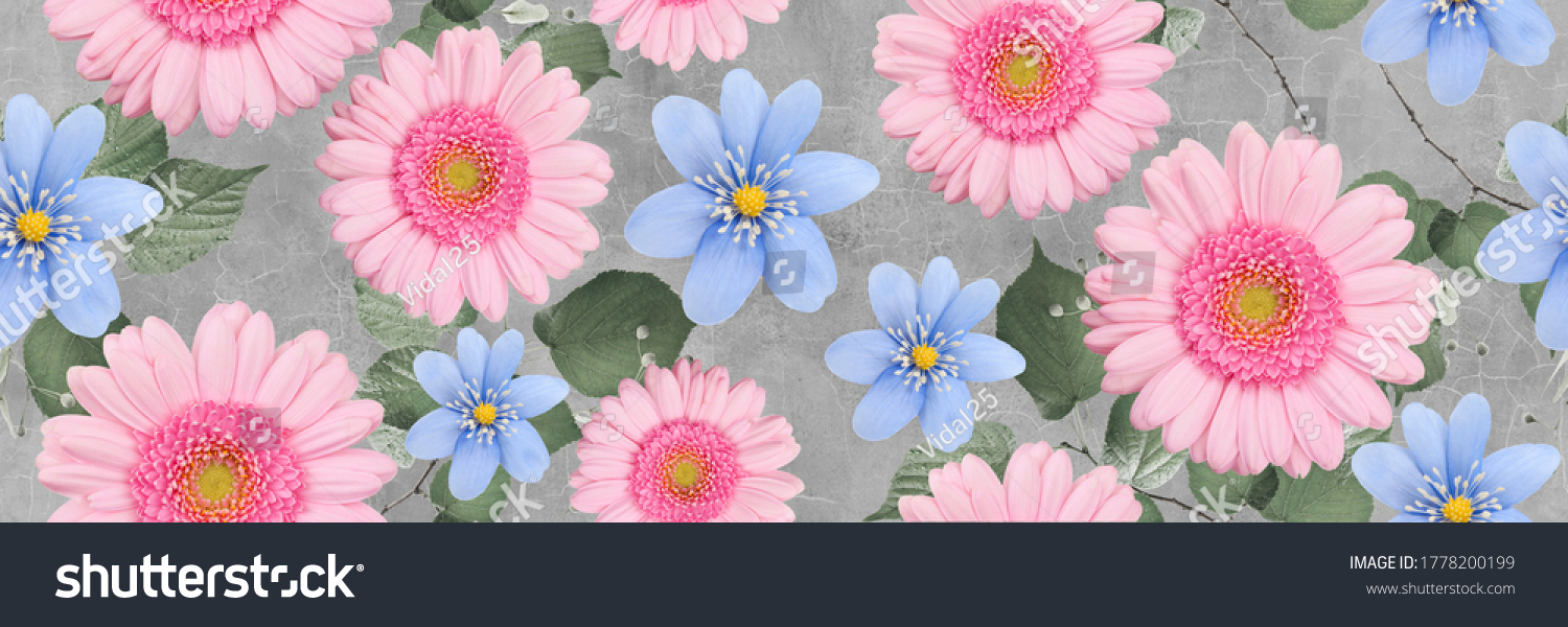 Blue and Pink spring flowers in the garden repeat background