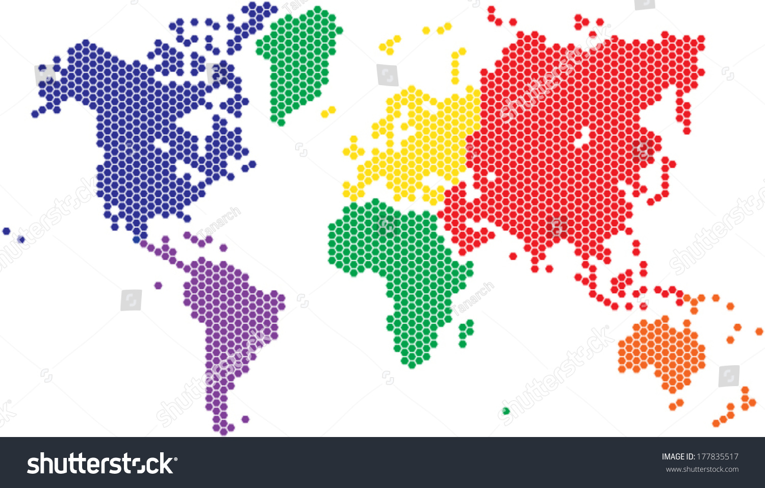Hexagon shape world map various colors stock vector 177835517 hexagon shape world map in various colors by continent gumiabroncs Image collections